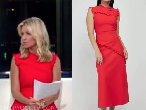 ainsley earhardt, fox and friends, red ruffle trim dress