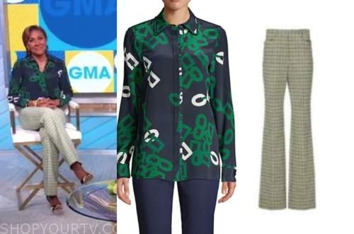 robin roberts, good morning america, green and blue shirt, green check pants