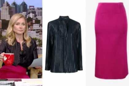 kelly ripa, live with kelly and ryan, pink skirt, striped tie neck top
