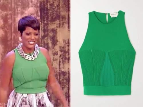 tamron hall, tamron hall show, green knit top
