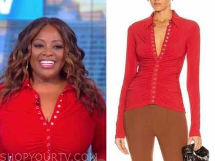 sherri shepherd, the view, red ruched top