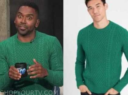 justin sylvester, E! news, daily pop, green cable knit sweater