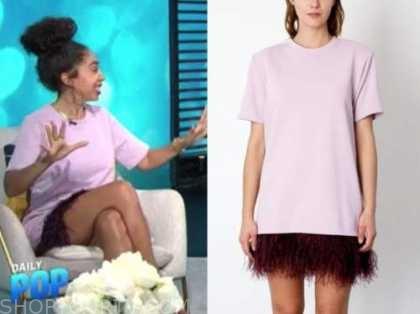 shan boodram, E! news, daily pop, purple feather dress