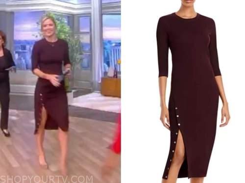 sara haines, the view, burgundy knit button slit dress