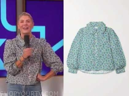 the talk, floral blouse, amanda kloots