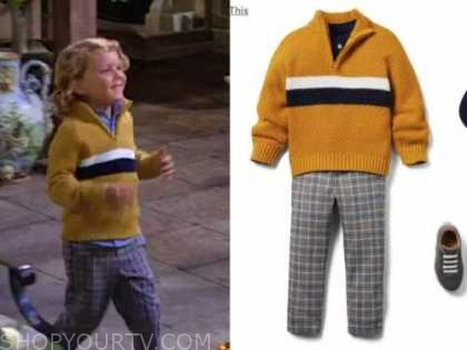kellen enriquez, harrison locke, the young and the restless, yellow sweater, plaid pants