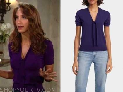 lily winters, christel khalil, the young and the restless, purple top