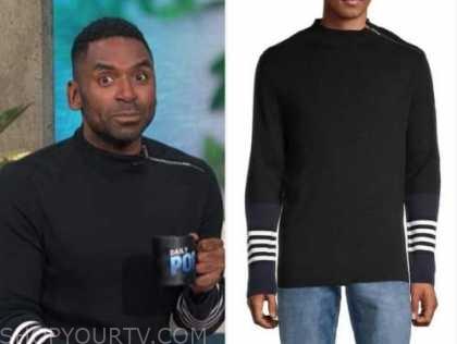 justin sylvester, E! news, daily pop, black striped zipper sweater