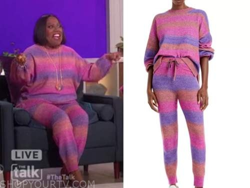 sheryl underwood, the talk, pink and purple striped sweater and joggers