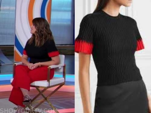 monica lewinsky, good morning america, black and red knit top