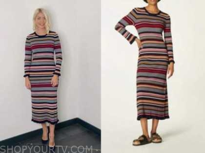 holly willoughby, this morning, striped knit midi dress