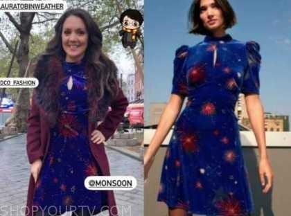 laura tobin, good morning britain, blue velvet dress