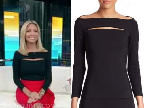 ainsley earhardt, fox and friends, black cutout top