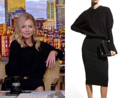 kelly ripa, black hooded dress, live with kelly and ryan