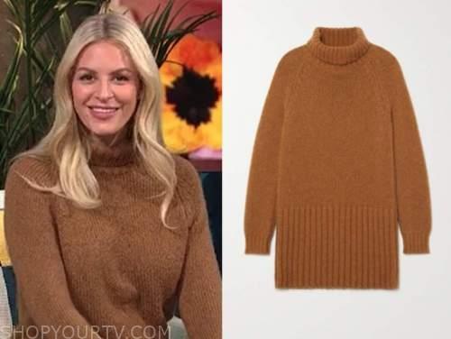 morgan stewart, camel turtleneck sweater dress, E! news, daily pop