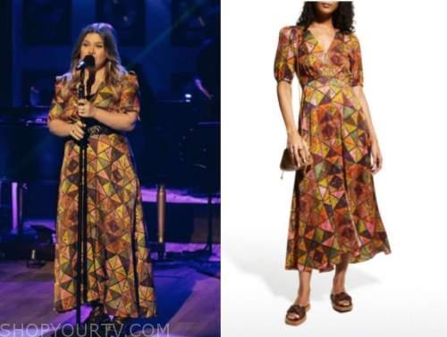 kelly clarkson, the kelly clarkson show, printed silk midi dress