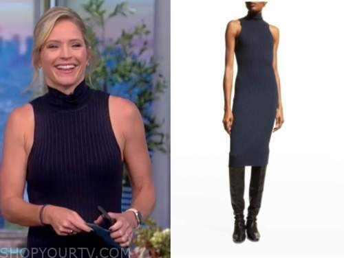 sara haines, the view, navy blue turtleneck knit dress