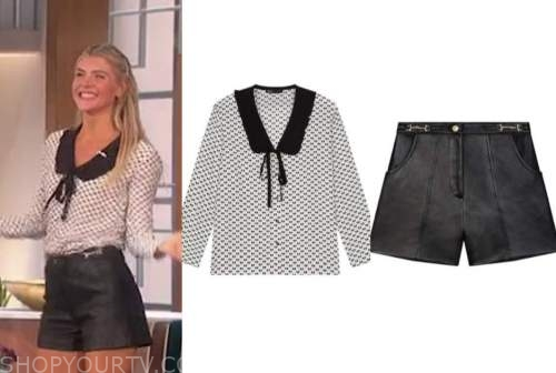 the talk, amanda kloots, black and white bow top, black leather shorts
