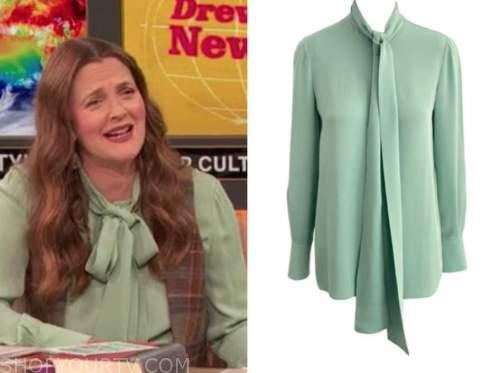 drew barrymore, drew barrymore show, mint green tie neck blouse