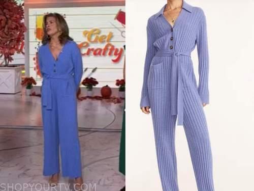 the today show, hoda kotb, blue cashmere knit jumpsuit