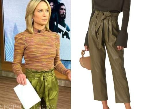 amy robach, good morning america, green leather pants