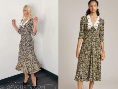 holly willoughby, this morning, floral collar midi dress