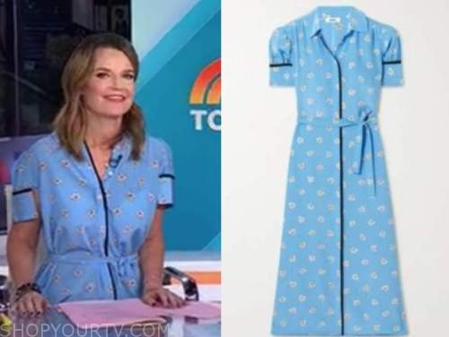 savannah guthrie, the today show, blue floral shirt dress
