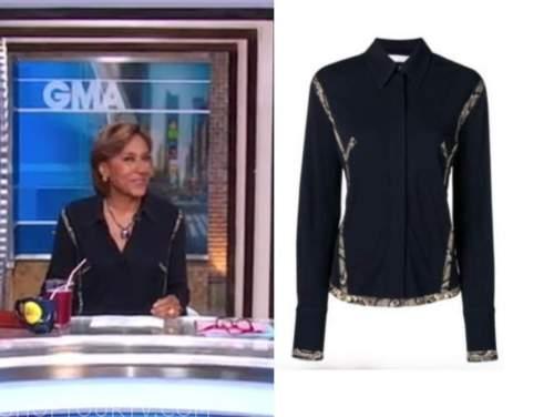 robin roberts, good morning america, black snakeskin trim shirt