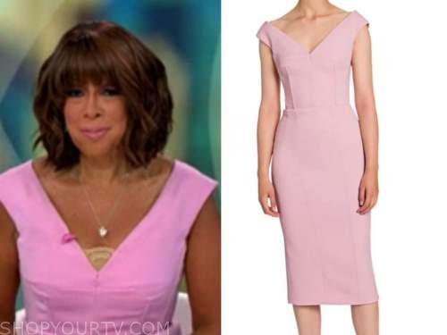 gayle king, cbs mornings, pink v-neck sheath dress