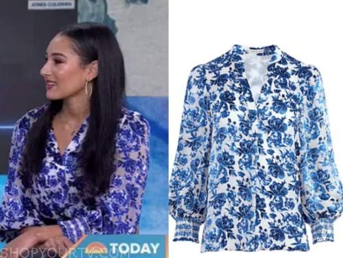 the today show, morgan radford, blue floral blouse