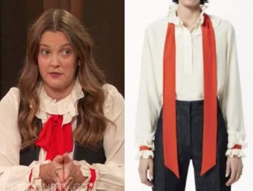 drew barrymore, drew barrymore show, ruffle tie neck blouse