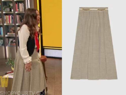 drew barrymore, drew barrymore show, check wool pleated skirt