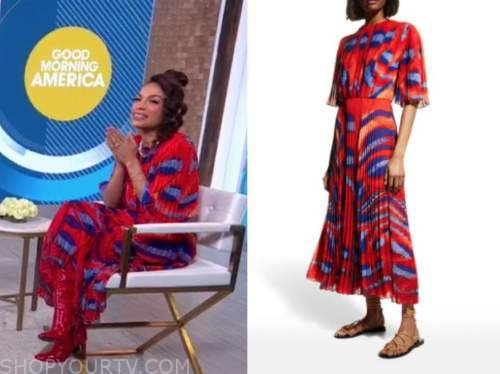 rosario dawson, red and blue pleated printed dress, good morning america
