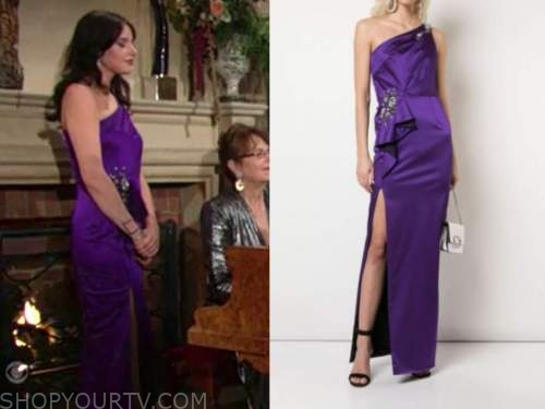 tessa porter, cait fairbanks, the young and the restless, purple gown