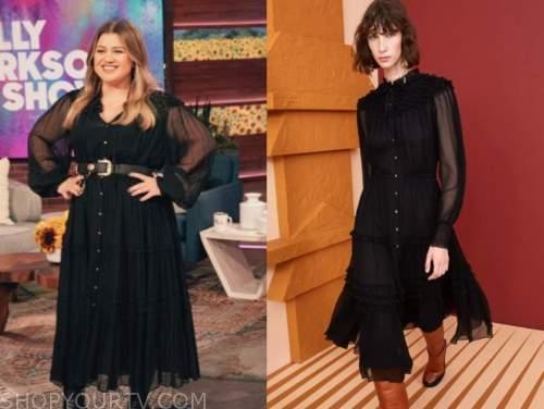 kelly clarkson, the kelly clarkson show, black midi dress