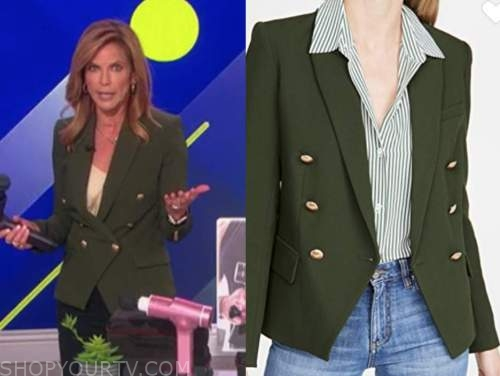natalie morales, green double breasted blazer, the talk