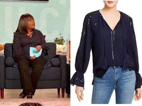sheryl underwood, the talk, navy blue embellished tassel blouse