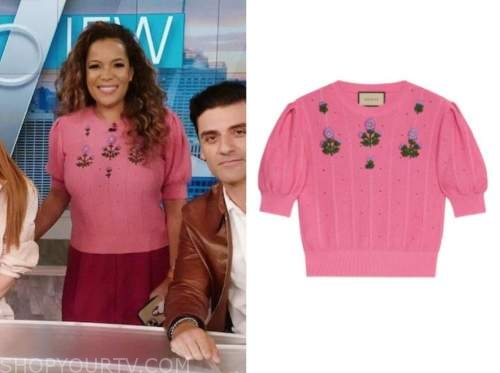 sunny hostin, the view, pink floral sweater