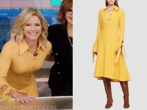 sara haines, the view, yellow knit dress