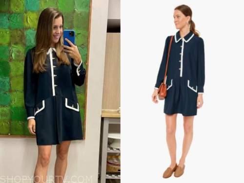 kelly senyei, E! news, daily pop, navy blue contrast trim dress