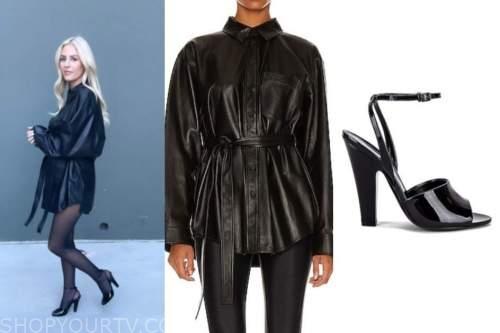 morgan stewart, E! news, daily pop, black leather shirt, black sandals