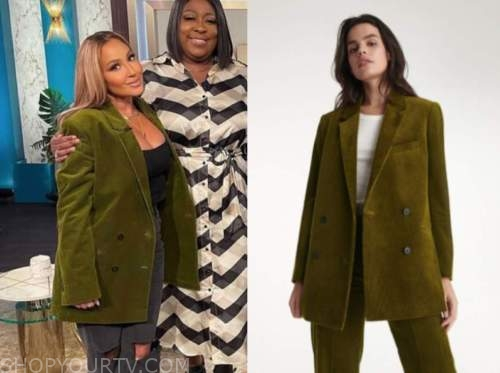 the real, adrienne bailon, green jacket