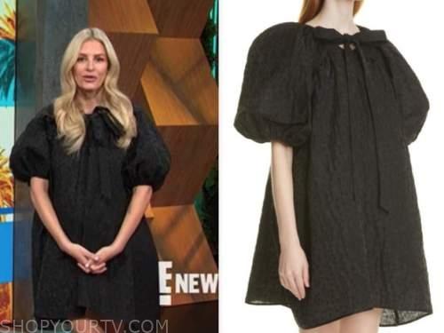 morgan stewart, E! news, daily pop, black tie neck mini dress
