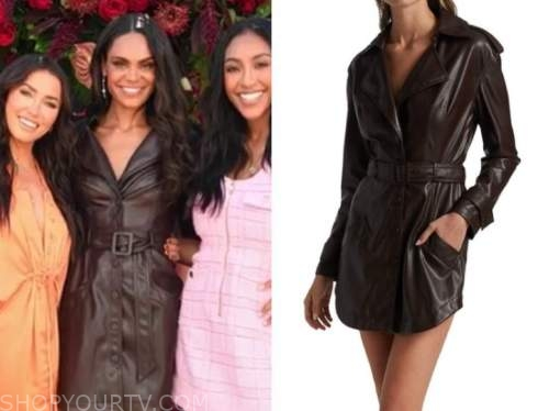 michelle young, the bachelorette, brown leather trench dress, E! news, daily pop