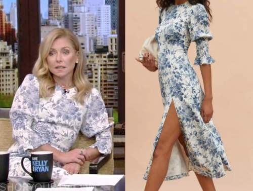 kelly ripa, live with kelly and ryan, blue and white floral midi dress