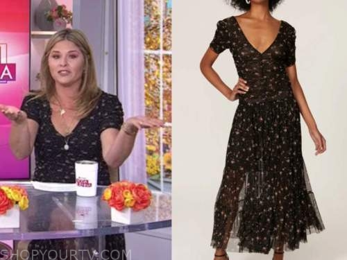 jenna bush hager, the today show, black floral mesh dress