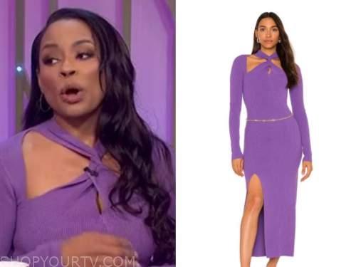 devyn simone, the wendy williams show, purple knit twist dress