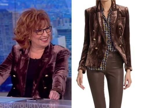 joy behar, the view, brown velvet double breasted blazer