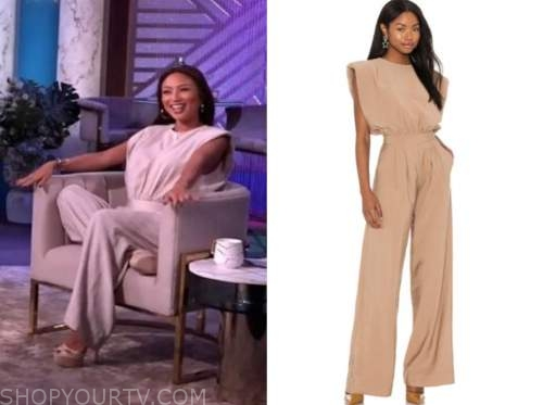 the real, jeannie mai, camel jumpsuit
