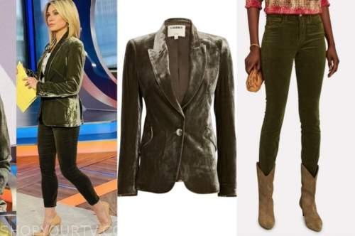 amy robach, good morning america, green velvet blazer, green pants